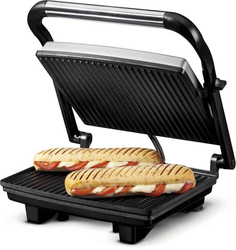 A panini press sandwich maker