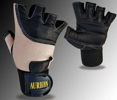AURION Men's Weight Lifting Soft Leather Gym Gloves with Wrist Support, Double Stitched Fingers and Palm