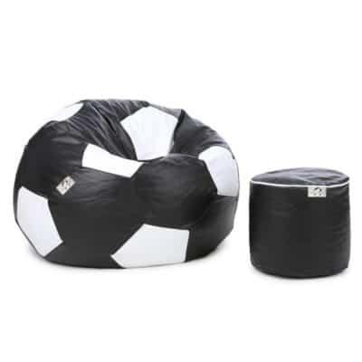 AdevWorld Football XXXL Bean bag With Bean Filling (Black & White)