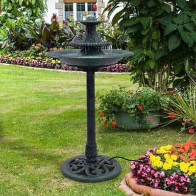 Apontus 3 Tier Fountain Garden Decor Pedestal Outdoor Bird Bath