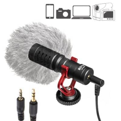 BOYA by-MM1 Universal Cardioid Shotgun Microphone Mini Mic for iOS iPhone 8 8 Plus 7 7 Plus 6 6s Mac iPad Tablet Canon Nikon DSLR Camera Camcorder