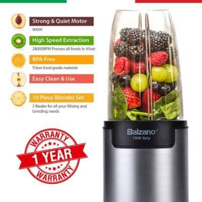 Balzano WBL-002-H 900-Watt Bullet Blender with 3 Jars (Silver)