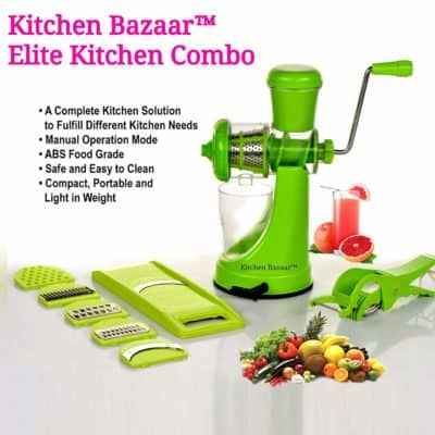 Kitchen Bazaar Elite Plastic Manual Citrus Juicer Package Set