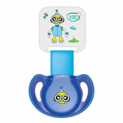 Buddsbuddy BB7039 Premium Pacifier with Ribbon and Clip, 2 Pieces (Blue)