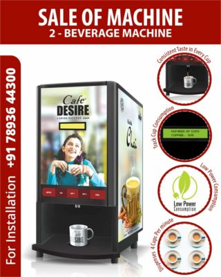 Cafe Desire Coffee and Tea Vending Machine with 1kg Coffee Premix (Multicolour, CDCTVMOR) [ 2 Lane]