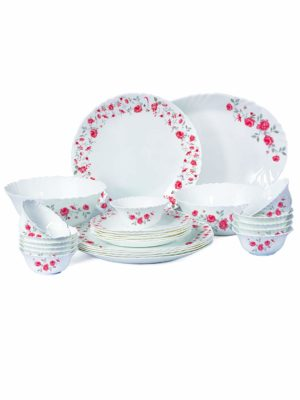 Cello Imperial Rose Fantasy Opalware Dinner Set, 27 Pieces, White