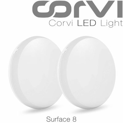 Corvi Surface 8 20-Watt LED Panel Light (Pack of 2, White, Round)