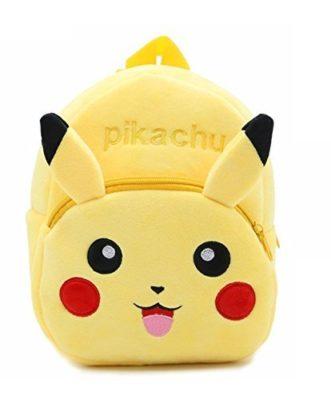 DZert Soft Plush Fabric Multicolour Pikachu Printed School Bag for Baby Boys and Girls