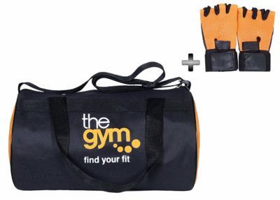 Dee Mannequin 78607 Leather Gym Bag and Gym Gloves Combo (Orange)