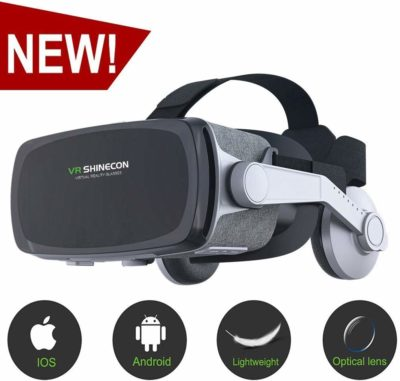 EDGEMETER VR SHINECON 9.0 GE07 3D Virtual Reality Headset with Stereo Headphone with 100-120 FOV angle 40 mm lens 360 degrees 3D Viewing for All Android and iOS 3.5-6 Inch Smartphone