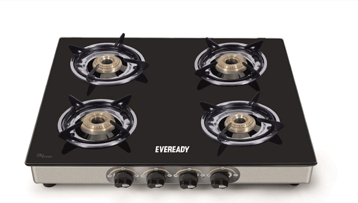 Eveready TGC4B Glass Top 4 Burner Gas Stove