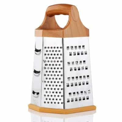 Expresso 6-Sided Stainless Steel Grater and Slicer, Wood Finish