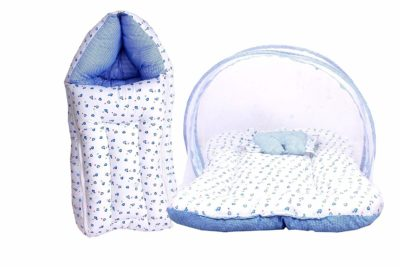 Fareto Baby Mattress with Mosquito Net & Sleeping Bag Combo