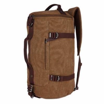 FUR JADEN Canvas Men's Black 27L Duffle Travel Bag with Backpack and Long Shoulder Strap