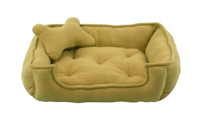 Fluffy's Luxurious Reversible Dog and Cat Bed, Beige (Medium)
