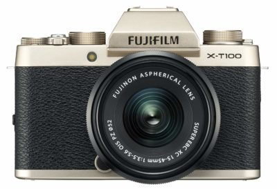 Fujifilm X Series X-T100 24.2MP Mirrorless Camera (Champagne Gold) with XC15-45mm Lens Kit