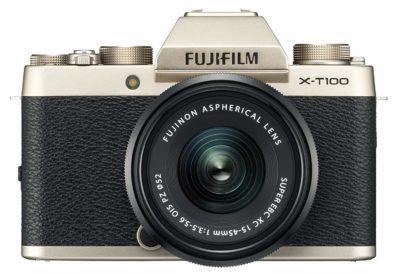 Fujifilm X Series X-T100 24.2MP Mirrorless Camera (Champagne Gold) with XC15-45mm Lens Kit