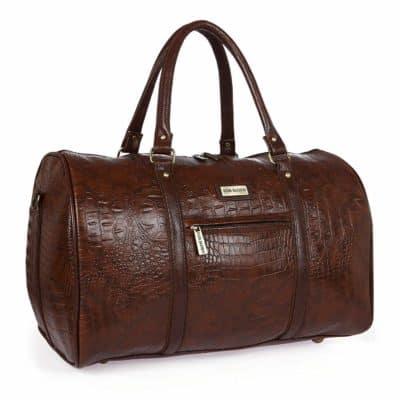 Fur Jaden Brown Textured Leatherette Weekender Duffle Bag