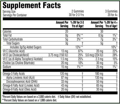 Gerber Lil Brainies Kids Gummy Multivitamin Nutritional Value