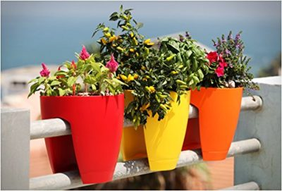 Go Hooked Railing Pots and Planter, Railing Flower Pots