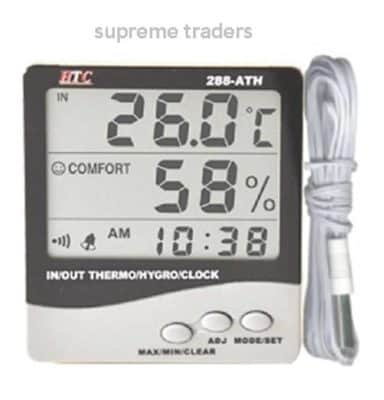HTC Instrument 288-ATH Digital Indoor Outdoor Hygrometer Thermometer with clock