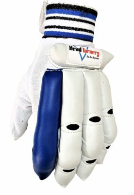 HeadTurners Cricket Batting Right Hand Gloves- Featherlite for Boys, Youth and Mens (Blue)