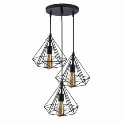 Homesake™ 3-Lights Round Cluster Chandelier Black Diamond Hanging Pendant Light with Braided Cord, Bulbs Not Included