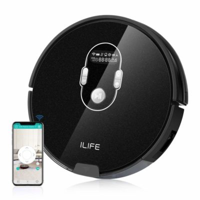ILIFE A7 Robotic Vacuum Cleaner with High Suction LCD Display Multi-Task Schedule Dual Roller Brushes for Hard Floor Thin Carpets