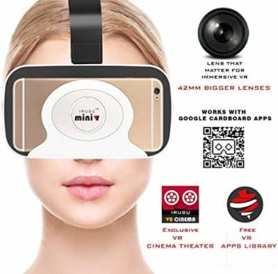 Irusu Mini VR Virtual Reality 3D Glasses with Bigger 42mm HD Optical Resin for Better FOV Compatible with All Smartphones