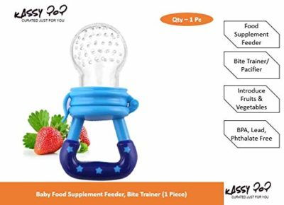 Kassy Pop Baby Bite Pacifier, Bite Trainer, Baby Food Feeder for Fruits Vegetables - Safe, Reusable, Daily Use Must Have for Babies & Infants