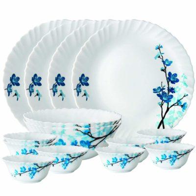 Larah By Borosil Mimosa Opalware 14-Piece Dinner Set