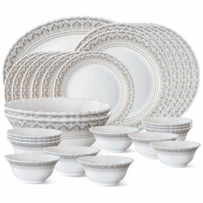Larah by Borosil Classic Opalware 27-Piece Dinner Set