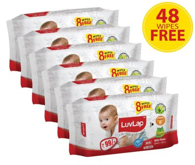 Luvlap Paraben-Free Baby Wet Wipes with Aloe Vera - 6 Packs (432 Wipes + 48 Wipes Free)