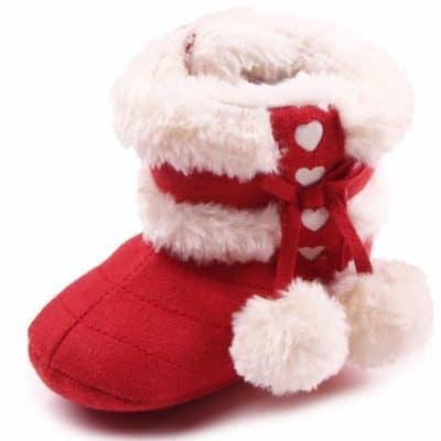 Mishlee Baby Shoes, Baby Boots Soft Sole, Christmas Boots - Red Color, Brown Color