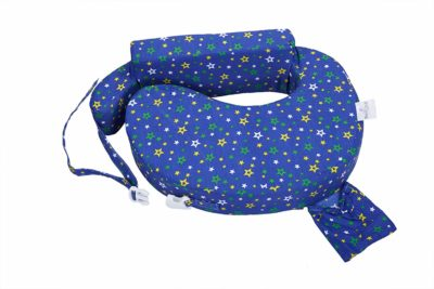 MomToBe Cotton Fabric Feeding/Nursing Pillow- HD Foam, Blue, Star Print