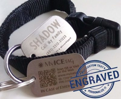 MyICETag Steel Personalized CUSTOM ENGRAVED SMART Tag Digital Pet ID System Track Scanned GPS Location Dog/Cat/ Humans