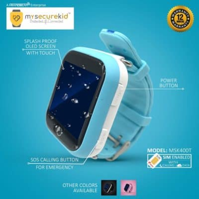 MySecureKid Kid's Smart Wrist Watch with GPS Tracker and Sim Support System Touch Screen Watches for 2G Android and iPhone (Blue)