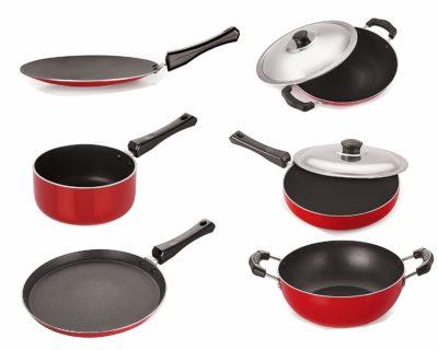 Nirlon Gas-Compatible Non-Stick Aluminium- Cookware Set
