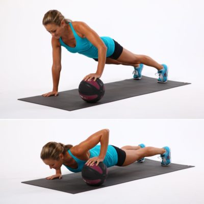 One Arm Med Ball Push Up