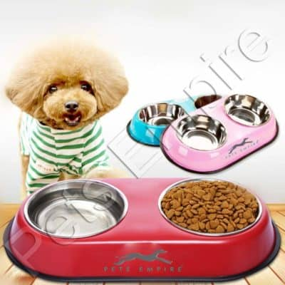 Pets Empire Stainless Steel Double Diner Dog and Cat Food Bowls with Anti Slip Mat