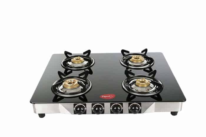 Pigeon Stainless Steel, Glass Manual Gas Stove  (4 Burners)