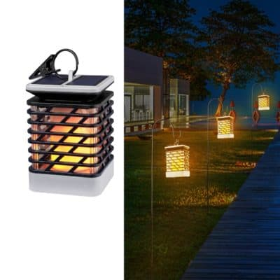 Quace Solar Powered Flame Hanging Decorative Atmosphere Lamp