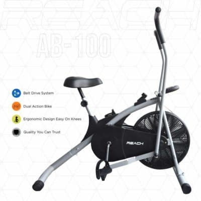 Reach AB-100 Air Bike Exercise Cycle with Moving Handles, Adjustable Cushioned Seat, Best Cardio Fitness Machine for weight loss.