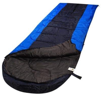 RuggedTrails All-Season Waterproof Hooded Sleeping Bag (Single) Sleeping Bag(Blue, Black)