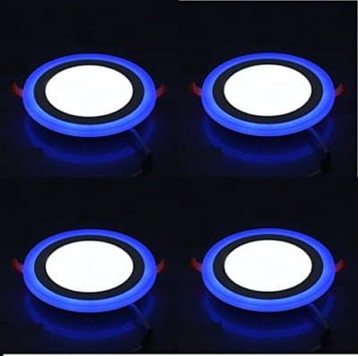 Signature Enterprise Double Color LED Panel Round Side 3D Effect Light (Blue,6w) -Pack of 04