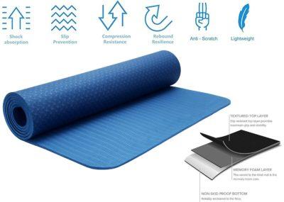 Strauss TPE Eco-Friendly Yoga Mat, 6mm
