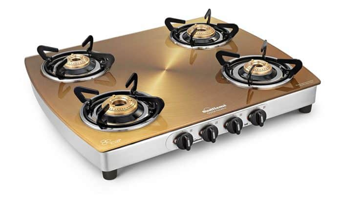 Sunflame Crystal Gold Glass, Stainless Steel Manual Gas Stove(4 Burners)