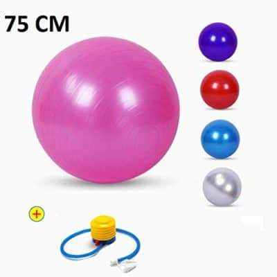 TOUA Anti-Burst Fitness Exercise Stability Balance Yoga Ball – Swiss birthing Gym Ball 75cm with foot pump