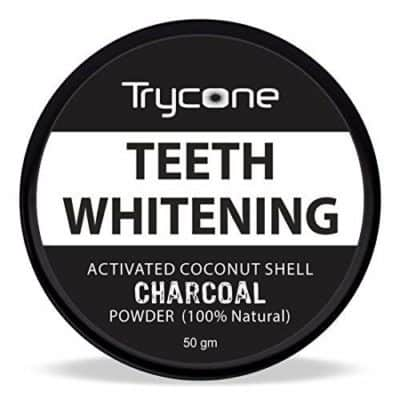 Try cone Coconut Shell Activated Charcoal Instant Teeth Whitening Powder