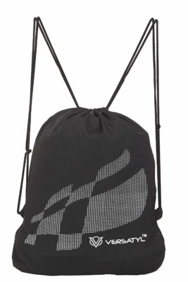 VERSATYL-Drawstring Bag Sports Backpack Gym Yoga Water Resistant Denim backpack Shoulder Rucksack for Men and Women (Black)